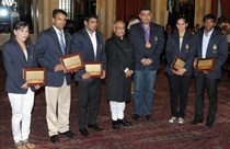 The President Shri Pranab Mukherjee felicitates Olympians at Parliament House,New Delhi