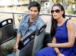 Varun Dhawan and Nargis Fakhri @ Promote 'Main Tera Hero' In An Open Bus
