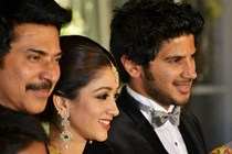 Celebs @ Wedding reception of Mammootty's son at a grand reception in Kochi Kerala