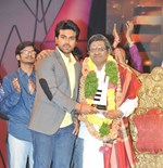 Ramcharan Tej, Allu Arjun, Allu Arvind, SiriVenela Sitarama Sastry, Nayanatara, Charmi, Srinu Vaitla ,Balakrishna & K.Raghavendra Rao @ Maa Music Awards 2012 Event Held in Hyderabad Set-1